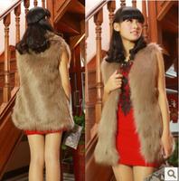 New arrival faux fox fur vest women's medium-long waistcoat free shipping