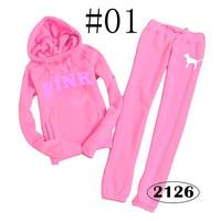 Free shipping women pullover fashion brand pink autumn winterarrival hoody sweatshirt cardigan fleece+pants 2piece sport