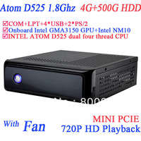 file servers with fan 4G RAM 500G HDD windows or linux mini pcie COM LPT 720P HD intel D525 1.86Ghz GMA3150 graphic NM10 chipset