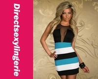 New Arrival Women's  Stripe Hip Skirt  Clubwear  Dress 2013 Sexy Bodycon Dress  Mesmerizing Blue White Tank Mini Dress   LC2934