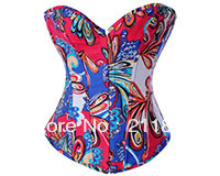 2013 Hot Style,Factory Direct, Quality Assurance,Abstract Floral Fashion Sexy Denim Overbust Corset,S/M/L/XL2XL,3 Colors,Q2878