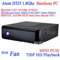 industrial server POS thin client server barebone with mini pcie COM LPT 720P HD intel D525 1.86Ghz GMA3150 graphic NM10 chipset