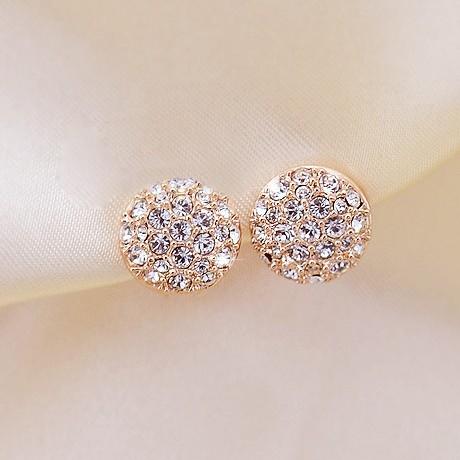 1 Pair Free Shipping 2013 Full Rhinestone Round Earring, Elegant Stud Earrings D214(China (Mainland))
