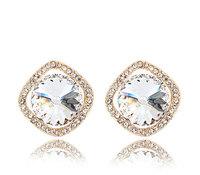 18K White Gold Plated Birthstones Rhinestones Earrings Made of Genuine Austrian Crystals Jewelry 6610