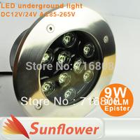10pcs/lot 9W led underground spot light ip67 lamps outdoor lighting DC12V/24V AC85V-265V CE&RoHS Free shipping DHL/FEDEX