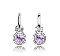 18K White Gold Plated Birthstones Rhinestones Earrings Made of Genuine Austrian Crystals Jewelry 5845
