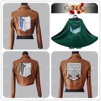 FS Eren Jaeger Mikasa Ackerman Armin Arlart Levil Cloak Leather Jacket Shingeki No Kyojin Attack On Titan Cosplay Halloween