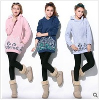 2013 New Arrival Autumn and winter Blue and white printing pullover With hood Hoodies cotton Manufacturers wholesale Hoodies