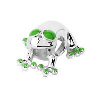 Genuine 925 Sterling Silver Charm, Lucky Frog with Green Enamel Accents DIY Making Fits All Brands European Charm Collections