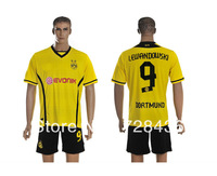 13 14 Borussia Dortmund Yellow Home Cheap Soccer Jersey+Shorts 9# Trianing Shirt Football Uniforms Free shipping