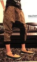 2014 fashion men harem pants men's low crotch leopard print pants casual pants plus size breeched  capris men