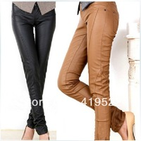 Free Delivery  2013 Fashion Autumn new Topshop women's Pu pencil pants Yellow,Black Size 34 36 38 40