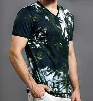 2xtxo171y LILANZ men's clothing fashion flower fresh V-neck short-sleeve T-shirt the trend of new arrival modal