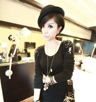 Free shipping  Autumn winter female fashion travel joker candy color felt trilby hat