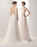 New Listing Free shipping One-Shoulder Pink White Chiffon Informal Beach Wedding Dresses Chapel Train Bridal Gown
