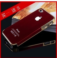 2013 New design Free shipping Case cover for iphone 4 4s metal wiredrawing skin for iphone protective case shell