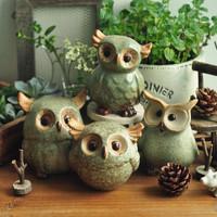 Zakka ceramic owl decoration fashion home decoration 4 pieces a set