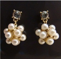 Free Shipping(MOQ 10$ Mix Order)Korea 18KGP Studded Pearl Ball CZ Diamond Womem Drop Ear Earrings Wholesale