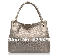 Free Shipping First Class Women genuine leather cowhide handbag fashion designer shoulder bag ladies gold color band job bags