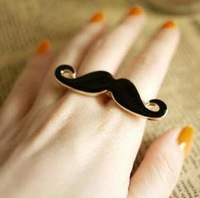Min.order $5 (can mix item) Cheapest price Alloy Double Beard Open Black Enamel Mustache Finger Ring Party Gift Free Shipping