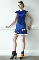 Free shipping woman A line blue velour patchwork knitted cotton ruffles dress 2013 brand Autumn Winter new dress ED13081501