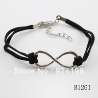 Min order $15(mix items) cheap price fashion charm leather infinity jewelry  infinite bracelet silver for women
