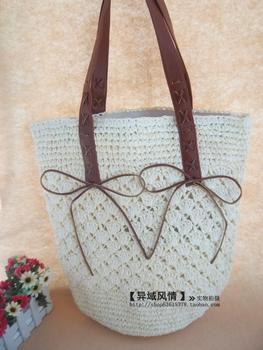 2013 crocheted paper rope fan shoulder bag beach bag gentlewomen women's handbag straw bag  free shipping