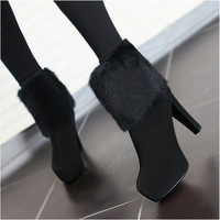 2012 women's winter shoes fashion platform rabbit fur cotton boots genuine leather high-heeled boots thick heel boots