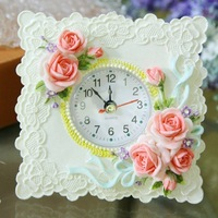 Resin material fashion desktop Clocks rustic fashion gift for children flower vintage style free shipping 036
