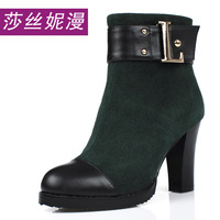 2013 fashion leather high-heeled boots genuine leather boots color block decoration thick heel platform boots