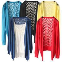 2013 women's long-sleeve sweater no button cardigan Carve flowers Korean Women Lace Sweet Candy Color Crochet Knit Blouse