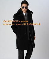 Men's thick warm winter models men coat jacket fur collar cashmere coat woolen middle-aged men in the long section