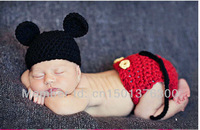 Free shipping cute mickey mouse baby hat and shorts handmade crochet photography props baby hat and shorts