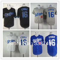 Free Shipping Men's Baseball Jerseys Cheap Los Angeles Dodgers #16 Andre Ethier White Black Grey Blue Jerseys,100% Stitched