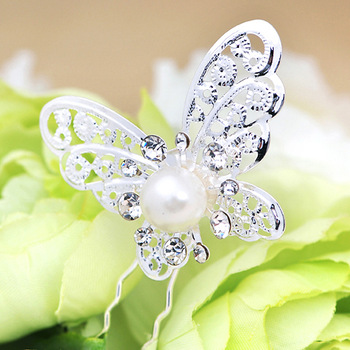Butterfly pearl hair stick flower white simulated-pearl hair accessory fork the bride hair accessory