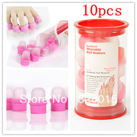 Free Shipping 10PCS  Wearable Salon DIY Nail Acrylic UV Gel Polish Remover Soak Soakers Cap Nail Tool