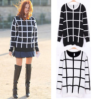 Free shipping 2013 autumn winter new hot sell knit long sleeve O-neck Plaid sweater pullovers female