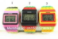 2013 Shhors watch Rainbow Classic Unisex fashion watches Coloful stripe Cheap Digital LED Light Drop shipping