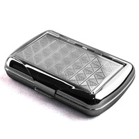 Silver stainless steel grid metal tobacco box smoking pipe