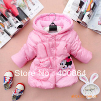Retail 1 pcs children spring winter coat outerwear with cartoon print jackets for girls warm parkas hot sale