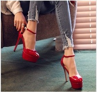 free shipping,2014 Korea patent leather cut outs buckle high thin heels platform women shoes pumps,lady heels wedding,black,red