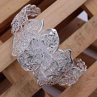 Free shipping Wholesale 925 silver bangle bracelet, 925 silver fashion jewelry, Flower Bangle B164