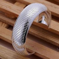 Free shipping Wholesale 925 silver bangle bracelet, 925 silver fashion jewelry, Big Weaved Flower Bangle B034
