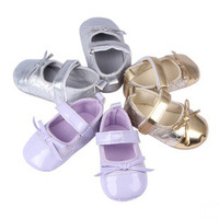 Wholesale 6pairs/Lot Lovely Butterfly Bowknot Decoration Flower Pattern Design Shining Baby Shoes Girl Princess Kids Footwear