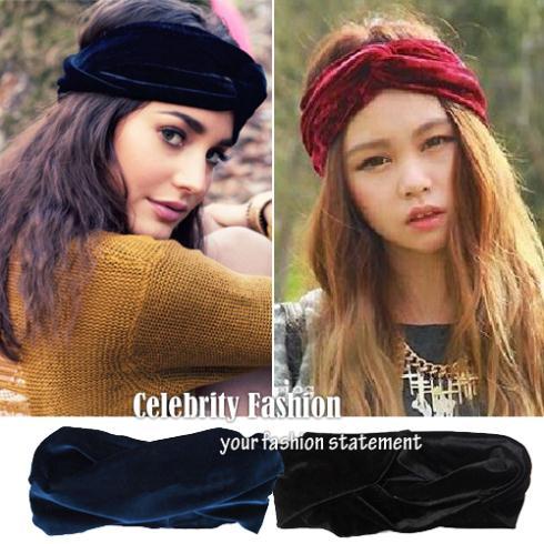 HT06 Celebrity Style Women Vintage Neon Headband Double Stretch Velvet Turban Headwrap Headwear Band 2014 New Free Drop Shipping(China (Mainland))