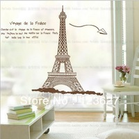 Free shipping hot sell Large Removable Paris Eiffel Tower Living room Decorative wall Stickers