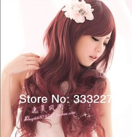 Free Shipping Wig long curly hair wig big wave female Wine dull red elegant wig oblique bangs