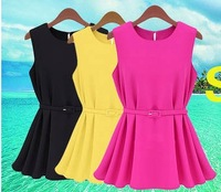 4 color hot selling 2013 summer women's fashion ol loose knitted chiffon pleated short design small dress 4 size
