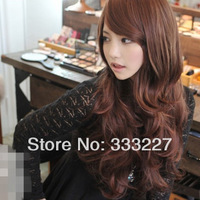 New Sexy Womens Girls Fashion Style Wavy Curly Long Hair Human Full Wigs 3 Colors 2013 Good Gift , Free Shipping