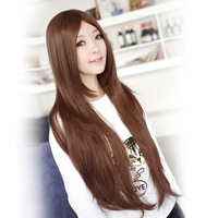 Free Shipping Wig scroll fluffy bangs , female long straight hair wig ultra long elegant fashion female
